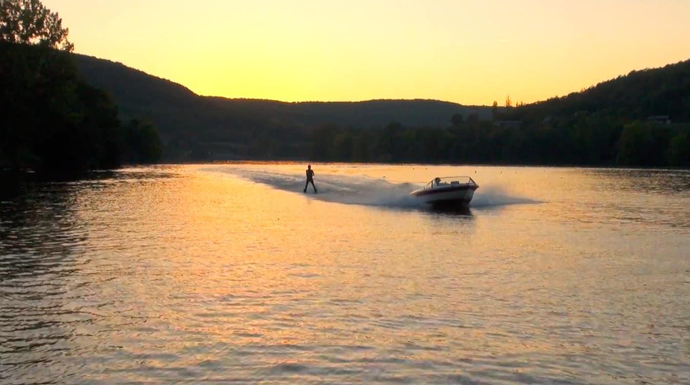 ski nautique brive lac du causse coucher de soleil