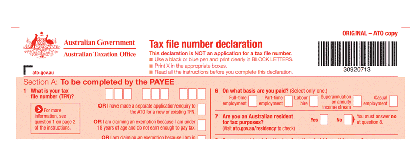 tax file number file exemple
