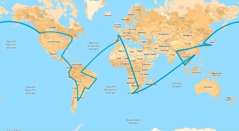 itineraire tour du monde tro ar bed